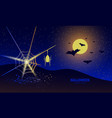 halloween night banner with spider and spider web vector image