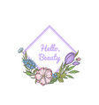 hand drawn flowers wreath with place vector image vector image