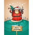 Holiday card with Santa Claus gifts and reindeer vector image vector image