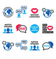 international mother language day icon set vector image vector image