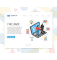 isometric freelance landing page vector image vector image