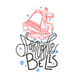 jingle bells - holiday hand lettering poster vector image vector image