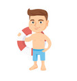 little caucasian boy holding a red-white lifebuoy vector image vector image