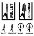millet sorghum cereal black symbol vector image vector image