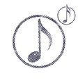 Music note icon with halftone dots print texture vector image vector image