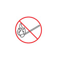 no fire line icon no open flame red prohibited vector image vector image