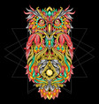 owl ornament tribal tattoo artwork with editable l vector image vector image
