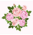 pink and beige roses wreath isolated on white vector image vector image