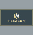 rf hexagon logo design inspiration vector image vector image