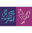 rooster and tattoo style vector image