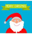 Santa Claus and green ribbon Merry Christmas card vector image vector image