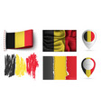 set of belgium flags collection isolated vector image vector image