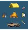 Set of camping equipment symbols icons vector image