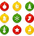Set of Christmas icons on collor balls vector image