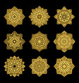set of golden mandalas vector image