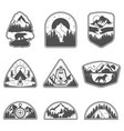 set of nine mountain black travel emblems camping vector image