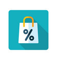 shopping bag with percent symbol icon vector image vector image