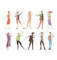 singing people karaoke set vector image vector image