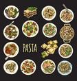 sketch - pasta set italian vector image vector image