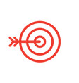 target and arrow line style red icon vector image