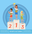 three female athletes with trophy and medals on vector image vector image