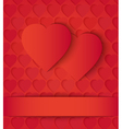 Two paper hearts card on red vector image