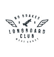 typographic emblem longboard club vector image vector image