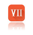 vii roman numeral orange square icon with vector image