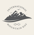 vintage letter emblem for international mountain vector image vector image