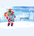 winter holidays decorations design santa holding vector image vector image