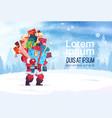 winter holidays decorations design santa holding vector image