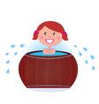 woman in cold barrel vector image vector image