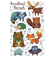 Woodland tribal animals set vector image vector image