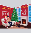 young couple on sofa and cat in decorated guest vector image vector image