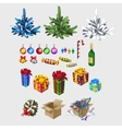 Different color Christmas tree and decorations vector image