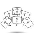 question marks in thought bubbles hand drawn line vector image