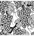 Seamless grapes background black and white vector image