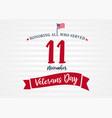 11 november veterans day usa poster light stripes vector image vector image