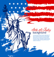 4th of July background with American flag vector image vector image