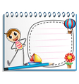 A notebook with a drawing of a person exercising vector image vector image