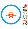 aircraft icon with valentine bonus vector image vector image