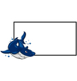 angry shark with blank sign vector image