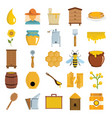 apiary icons in flat cartoon style vector image