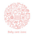 baby care line icons in form a circle vector image vector image
