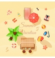 Beach Elements Set Top View Poster vector image vector image