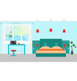 bedroom interior with a furniture and workplace vector image vector image
