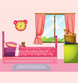bedroom with pink bed and curtain vector image vector image