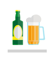 Beer glass and bottle isolated vector image