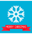 Big snowflake and red ribbon Merry Christmas card vector image vector image