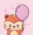 birthday card with cute tiger kawaii character vector image